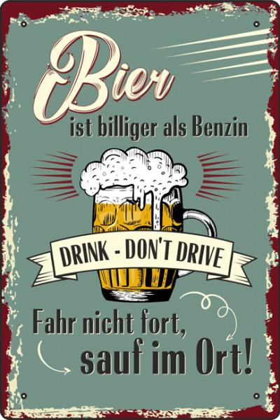 Blechschild Bier ist billiger als Benzin