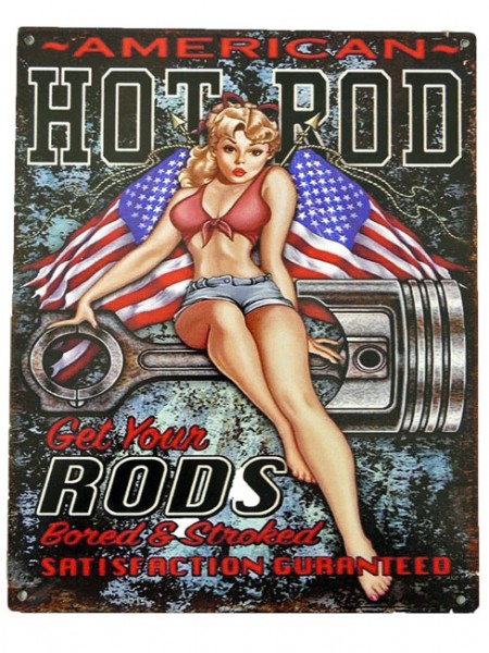 Blechschild American Hot Rod Pin Up Girl