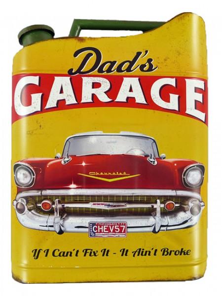 Blechschild Kanister Dads Garage