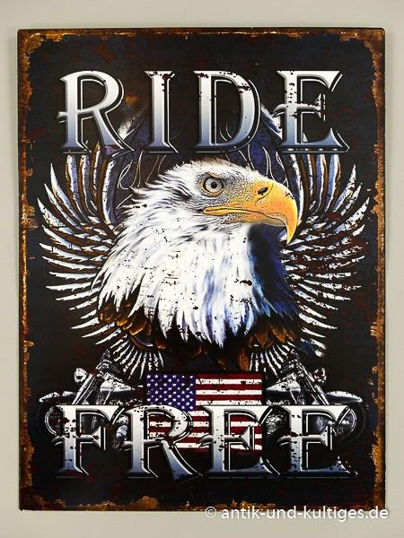 Blechschild Ride Free