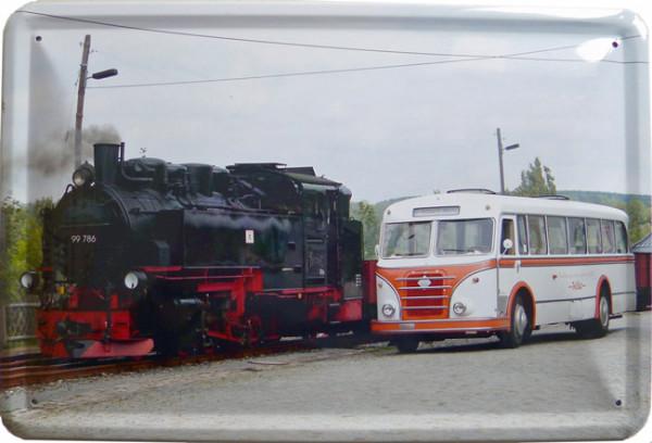 Blechschild Lok und Bus