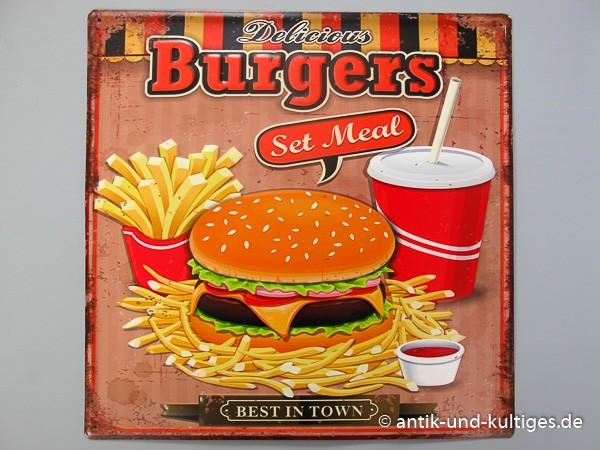 Blechschild Burgers - gestanzt - 38x38 cm
