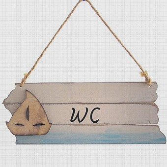 Maritimes Dekoschild WC aus Holz