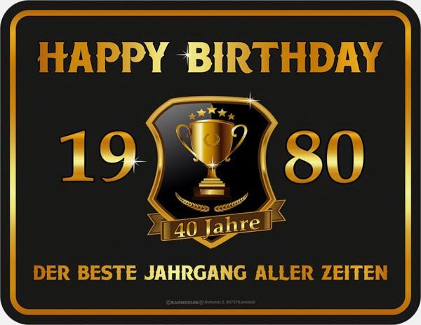 Blechschild Happy Birthday 1980 - RAHMENLOS® 3935