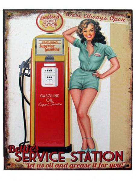Blechschild Service Station Pin Up Girl