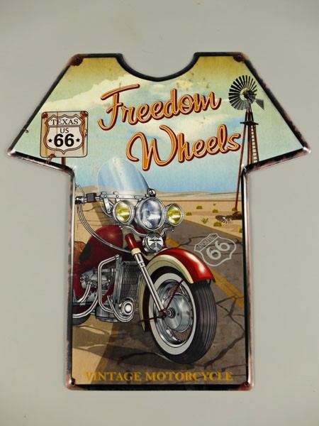 Blechschild Route 66 T-Shirt Freedom Wheels
