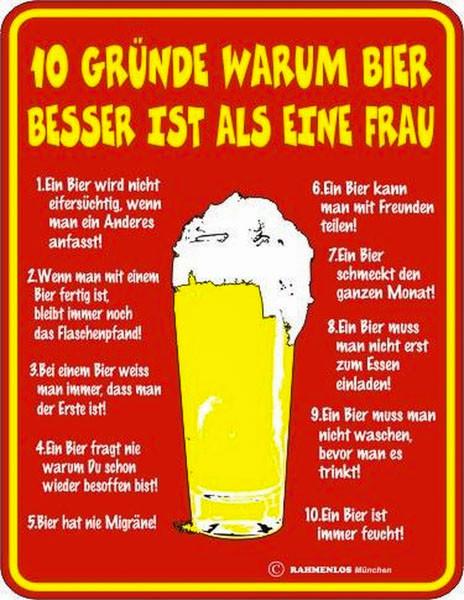 Blechschild 10 Gründe warum Bier besser ist - RAHMENLOS® 3219