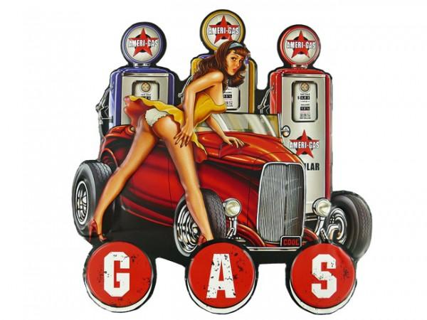 Blechschild Pin Up Girl Gas Hot Rod Tankstelle