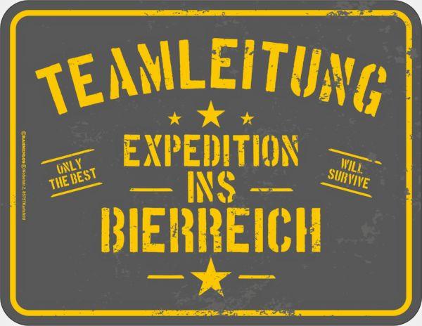 Blechschild Expedition ins Bierreich - RAHMENLOS® 3883