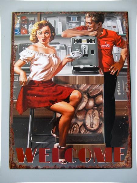 Blechschild Welcome - Pin Up Girl - 33x25 cm