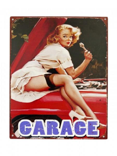 Blechschild Garage Pin Up Girl