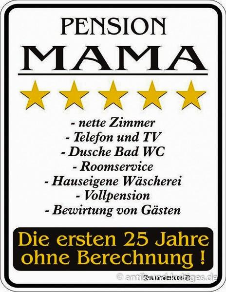 Rahmenlos Blechschild Pension Mama