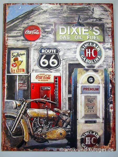 Blechschild Dixies Route 66