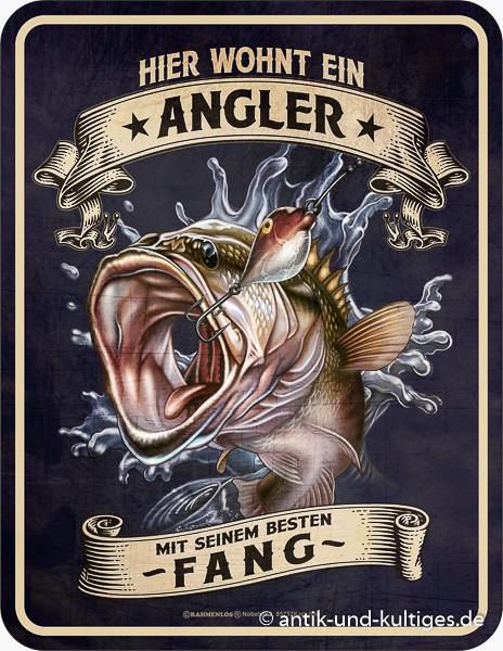Blechschild Hier wohnt ein Angler - RAHMENLOS® 3946
