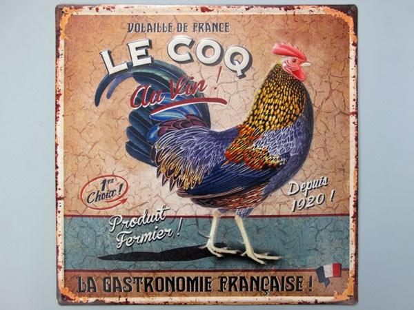 Blechschild Le Coq Huhn