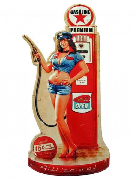 Blechschild Gasoline Pin Up Girl