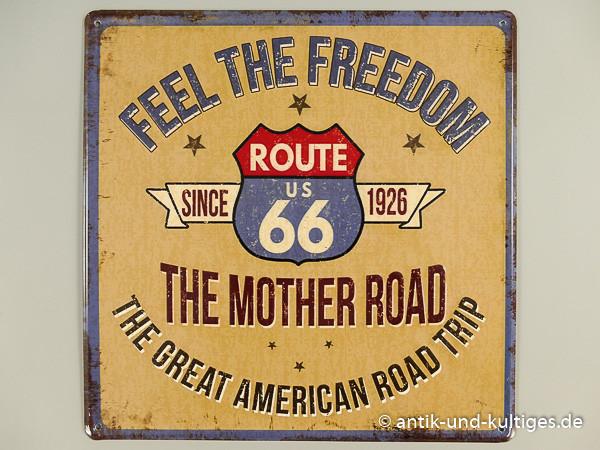 Blechschild Route 66 - Feel the Freedom