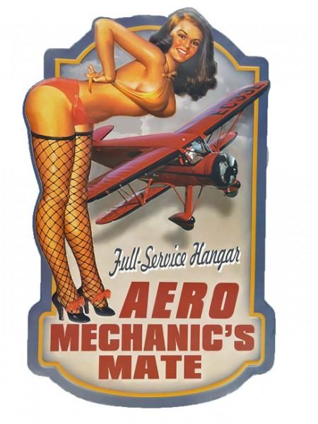 Blechschild Aero Mechanic's Pin Up Girl