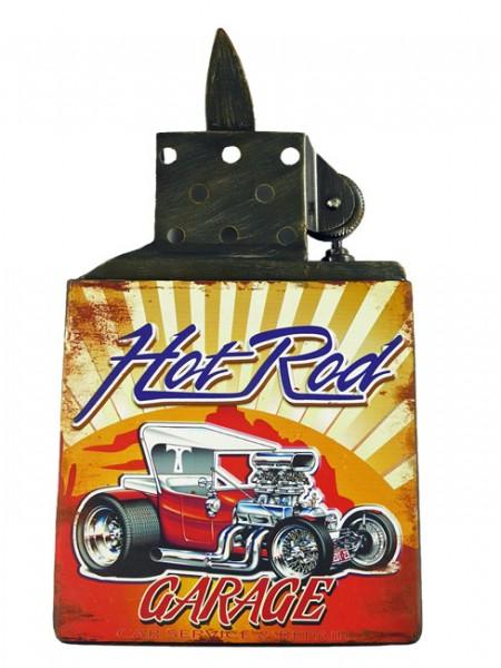 Blechschild Feuerzeug Hot Rod