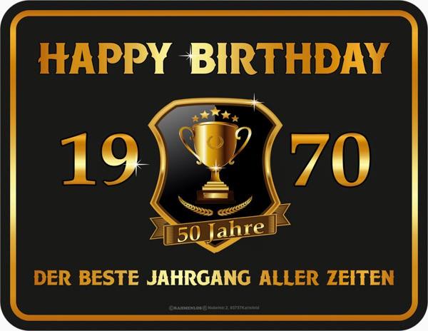 Blechschild Happy Birthday 1970 - RAHMENLOS® 3934
