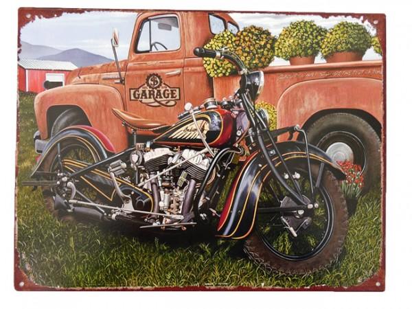 Blechschild Motorrad & Auto