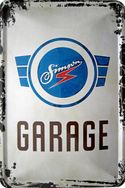Blechschild Simson Garage