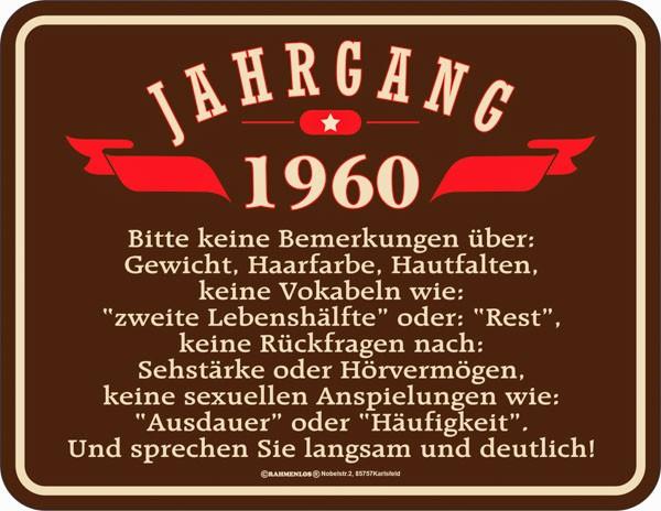 Lustiges Blechschild Jahrgang 1960 - RAHMENLOS® 3929