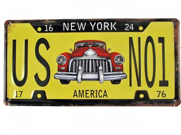 Blechschild US No1 Nummernschild