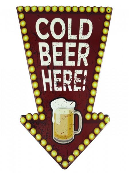 Blechschild Cold Beer here