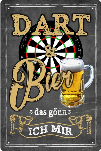 Blechschild Dart und Bier