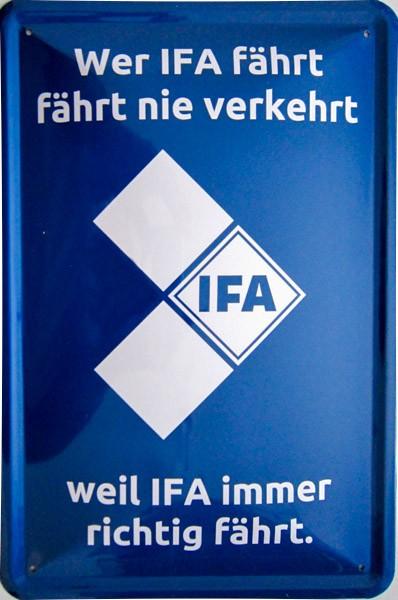 Blechschild Wer IFA fährt DDR