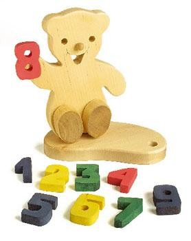 Geburtstagsbär mit Zahlen, Massivholz