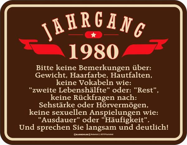 Lustiges Blechschild Jahrgang 1980 - RAHMENLOS® 3931
