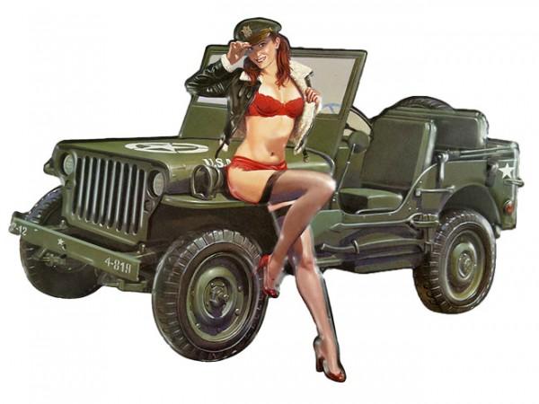 Blechschild Jeep Pin Up Girl
