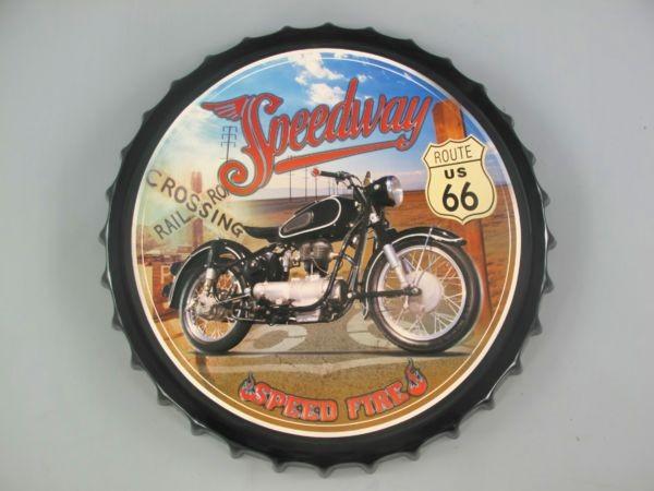 Blechschild Route 66 Speedway - rund - Ø 50 cm