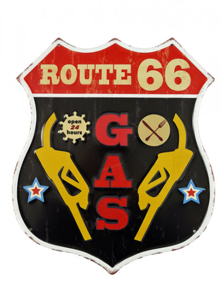 Blechschild Route 66 Gas