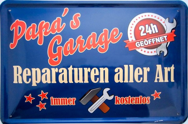 Blechschild Papas Garage