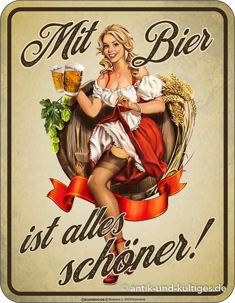 Blechschild Mit Bier ist alles schöner - RAHMENLOS® 3950