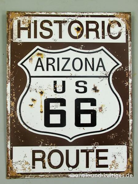 Blechschild Route 66 - Historic