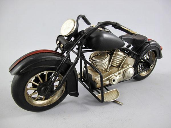 Motorrad schwarz Blechmodell 28 cm