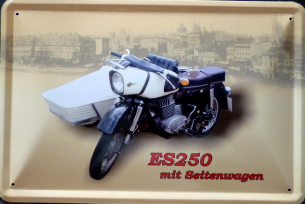 Blechschild Motorrad MZ ES 250 mit Seitenwagen