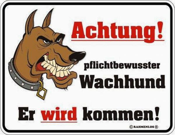 Blechschild pflichtbewusster Wachhund - RAHMENLOS® 3427