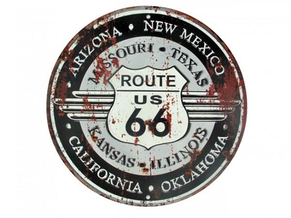 Blechschild Route 66 rund