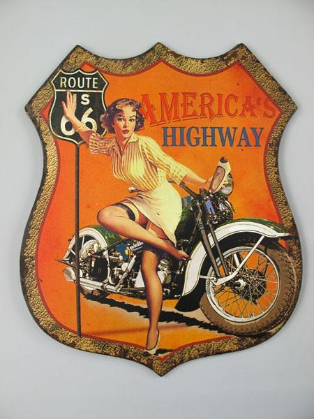 Blechschild Route 66 Americans Highway