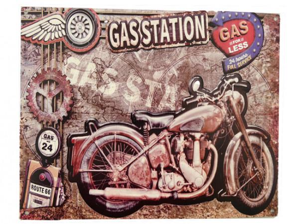 Blechschild Motorrad Gasstation