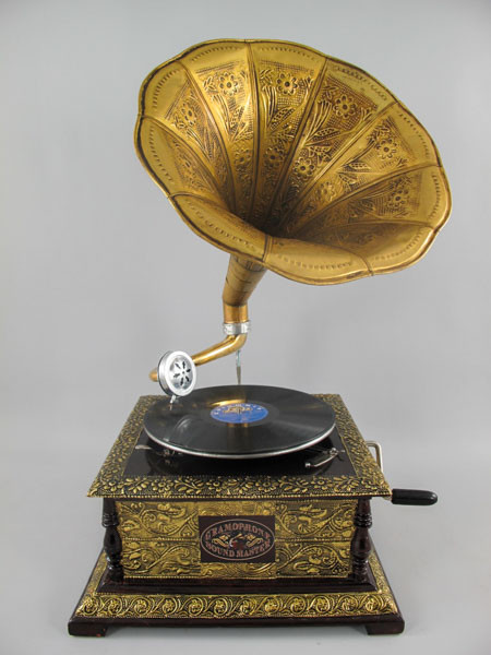 Grammophon GRAVUUR Messing viereckig