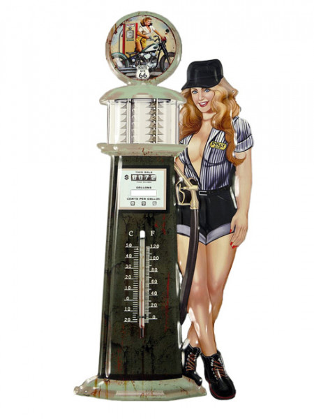 Blechschild mit Thermometer Tankstelle Pin Up Girl Route 66