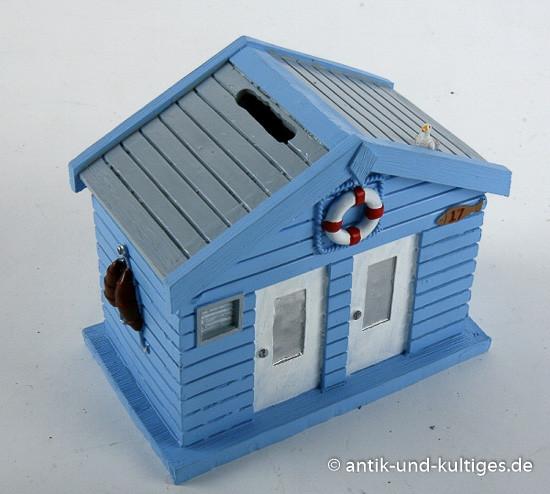 Spardose Strandhaus, blau