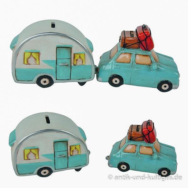 Spardose Wohnwagen und Auto
