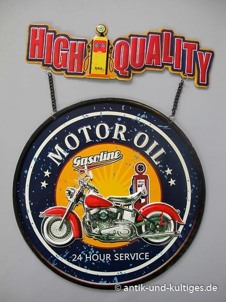 Blechschild Gasoline Motor Oil